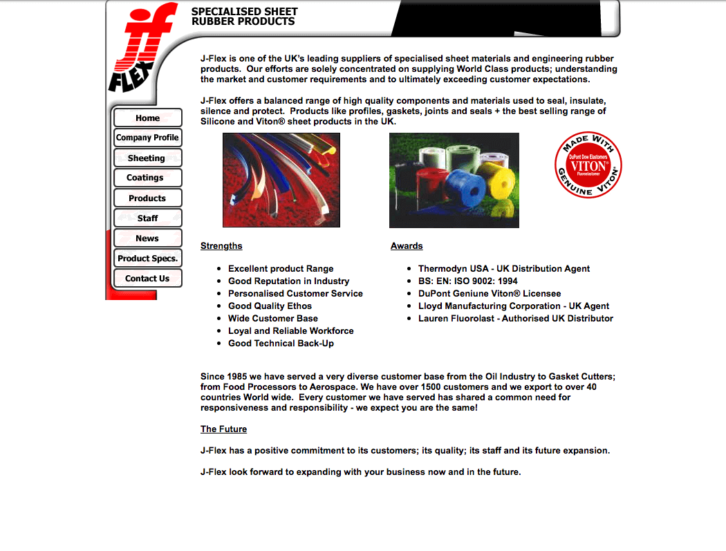 J-Flex website - mid 2000's